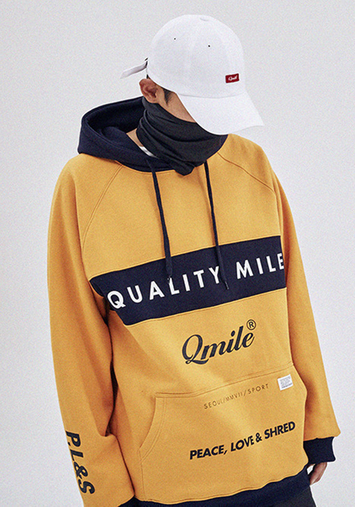 QMILE 큐마일 MOTTO HOODIE 옐로우